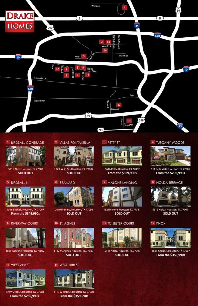 Drake Home Inc Communities - Map