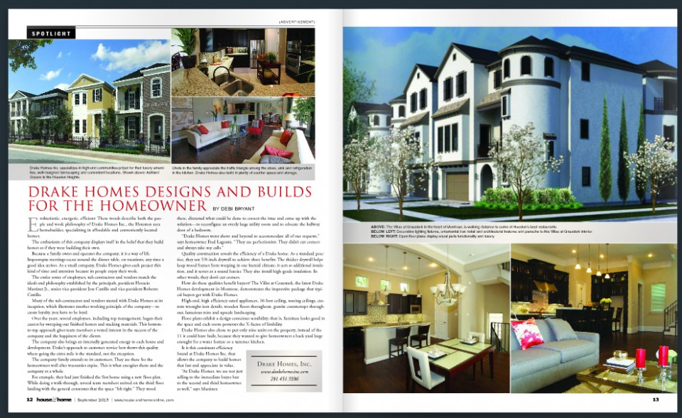Drake homes inc featured in houston house and home Drake homes inc